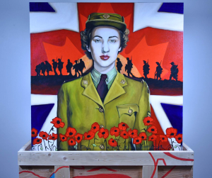 remembrance day painting sitting on art shipping crate