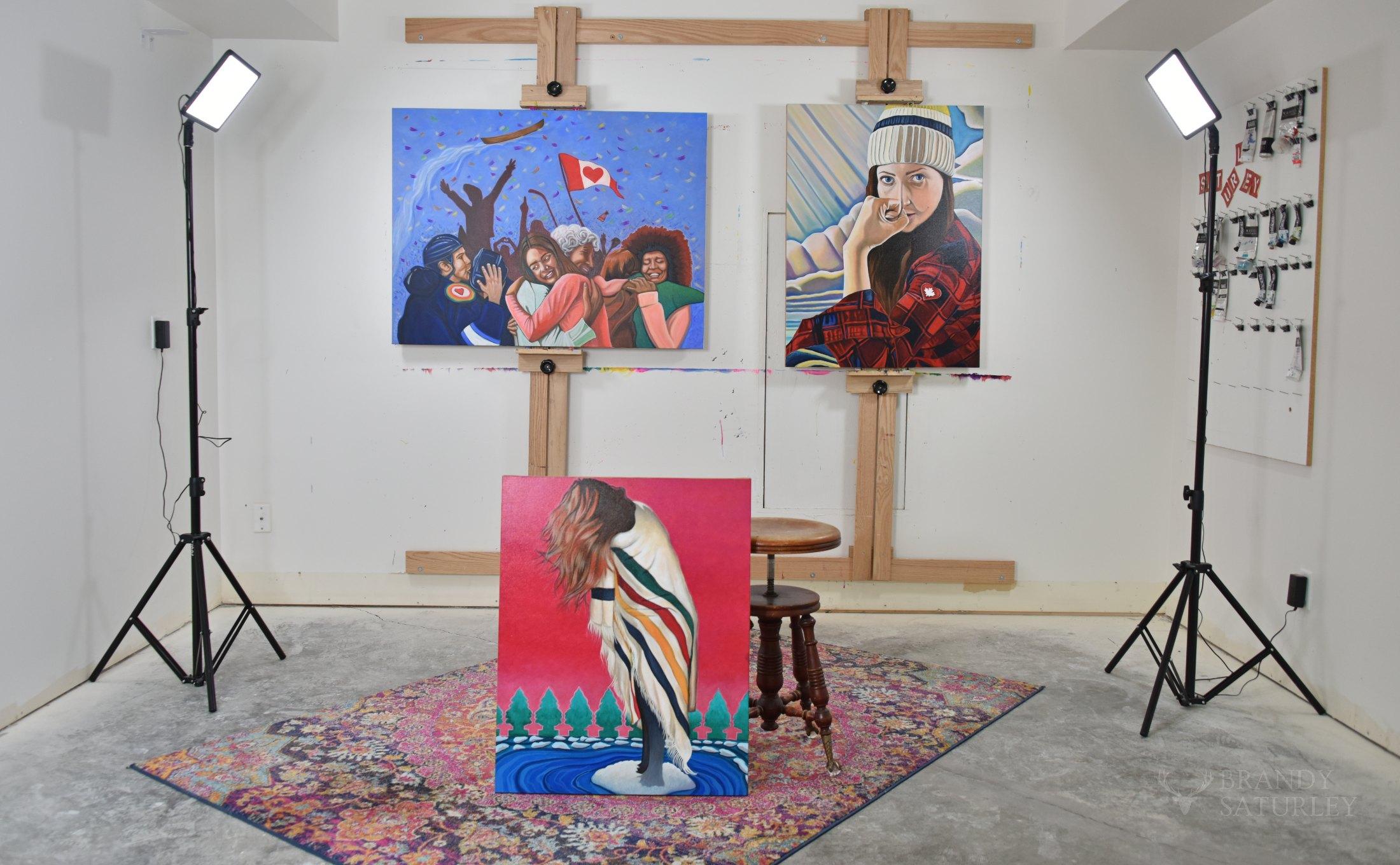 Canadian Artist Brandy Saturley - art studio Victoria BC Canada