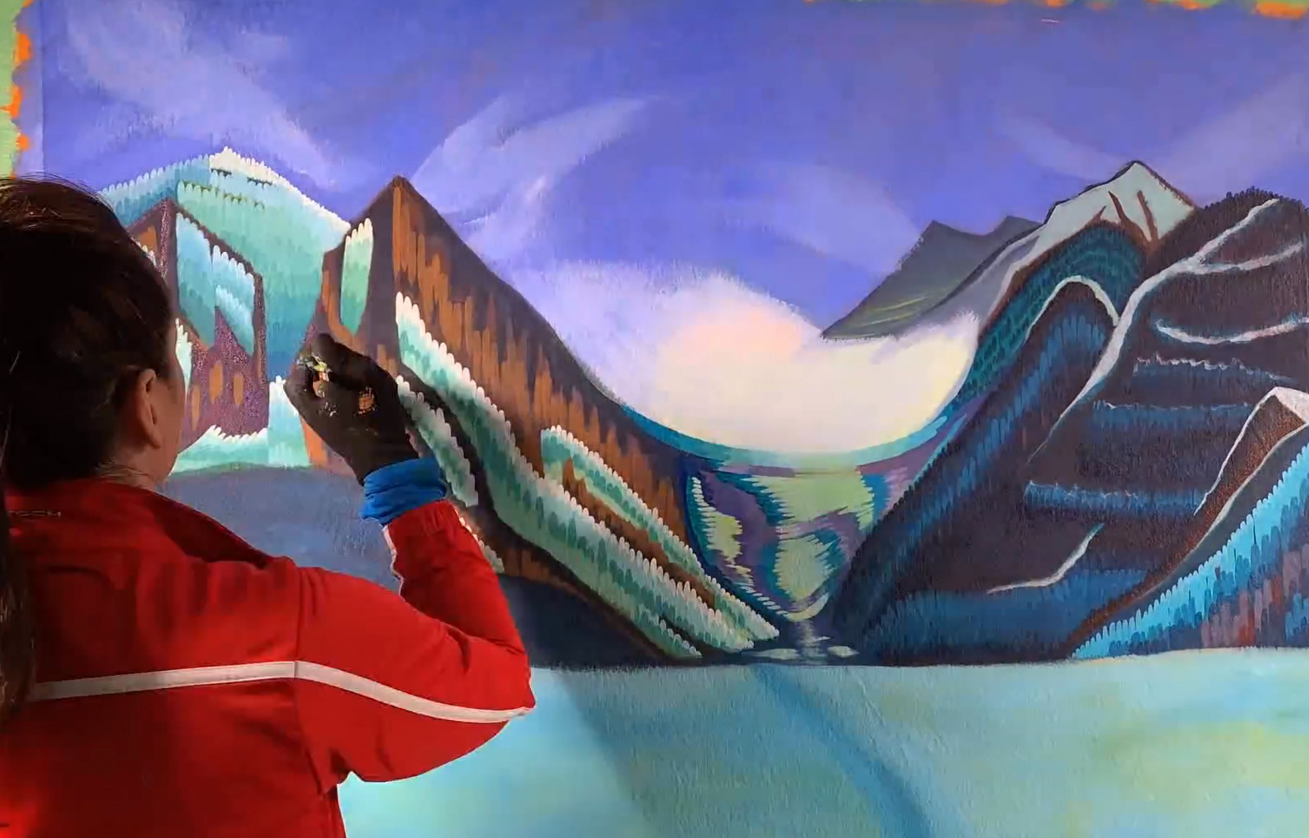 video of Canadian artist making a painting