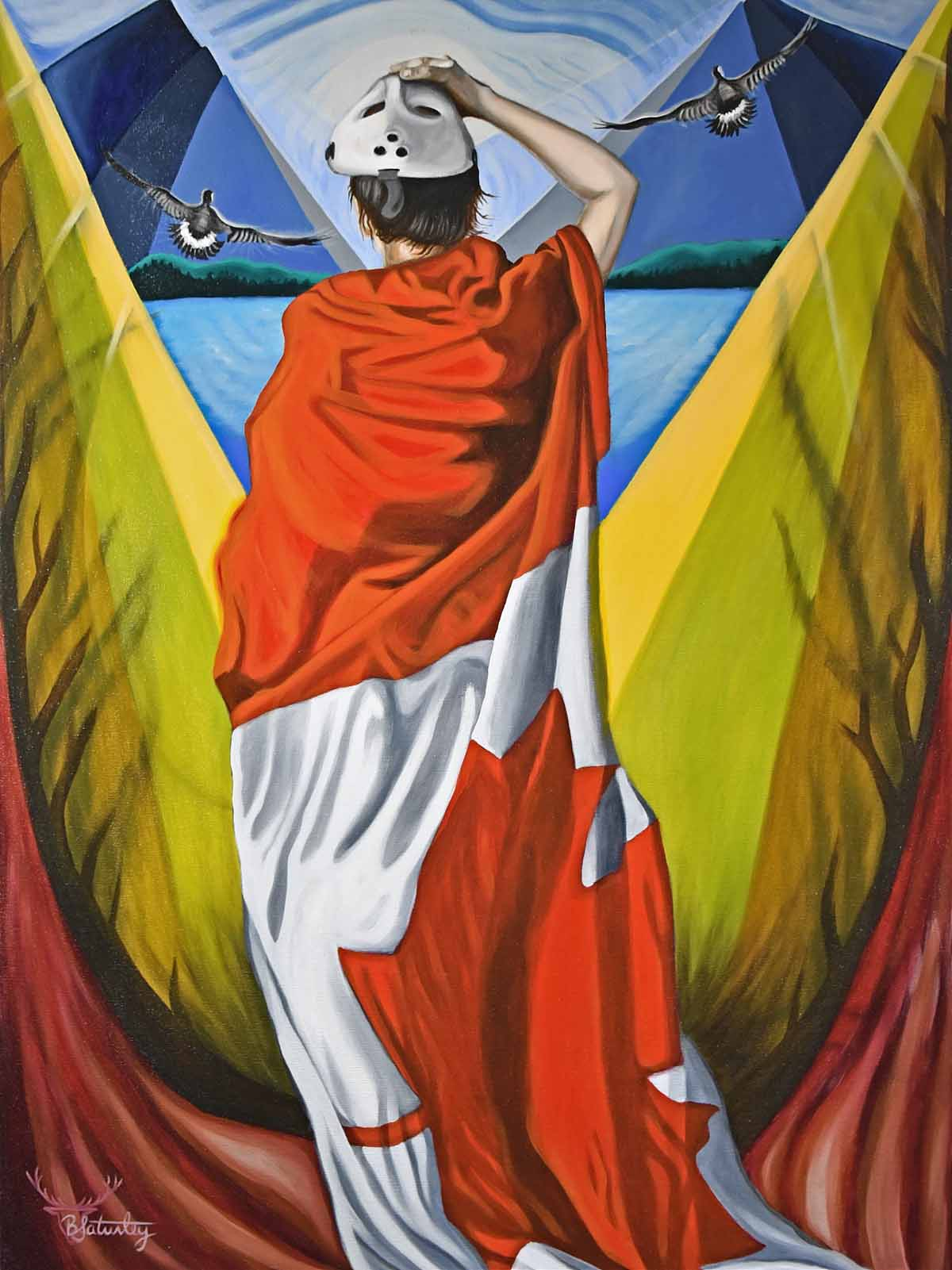 Canada flag and woman painting