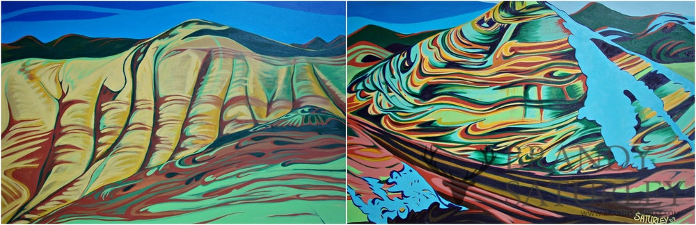 diptych painting painted hills Oregon