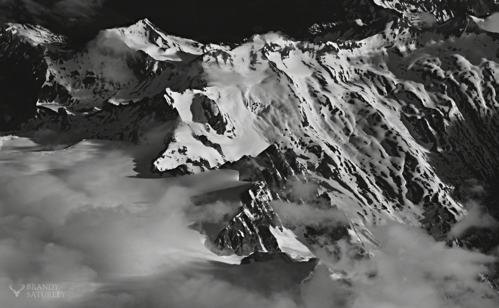 Rocky Mountains photo aerial black and white