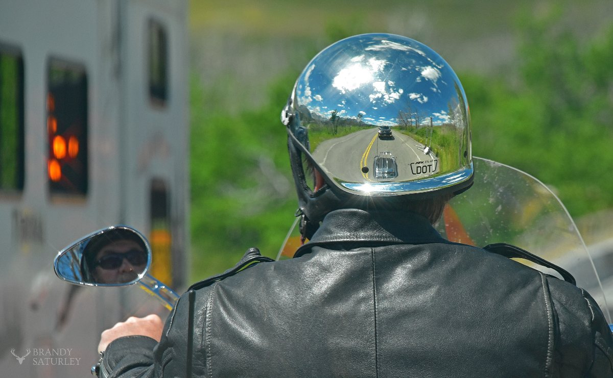 reflections off motorcycle helmet
