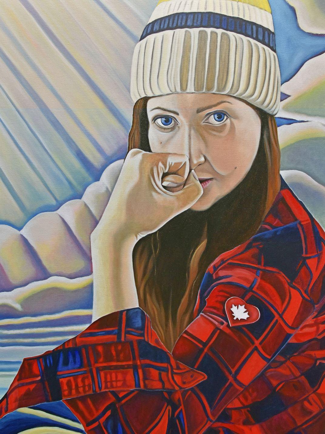 self portrait of Canadian pop artist Brandy Saturley against Lawren Harris skies