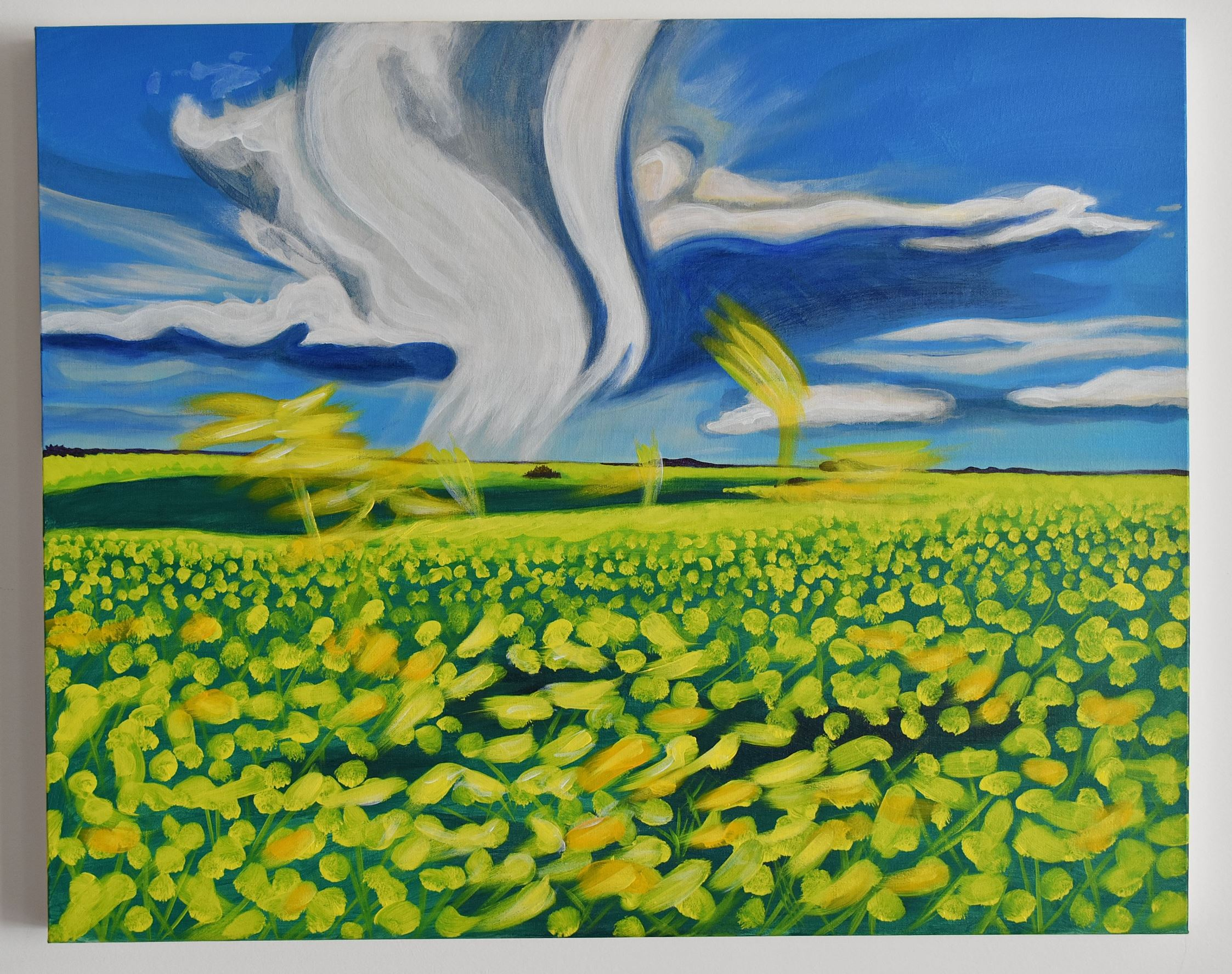 landscape painting of canola field in Manitoba with clouds and big sky - Canadian Art