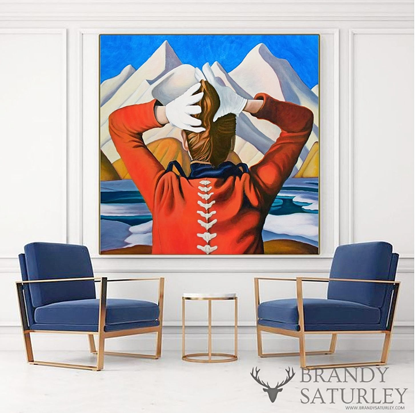painting of woman in red coat with backbone by Brandy Saturley