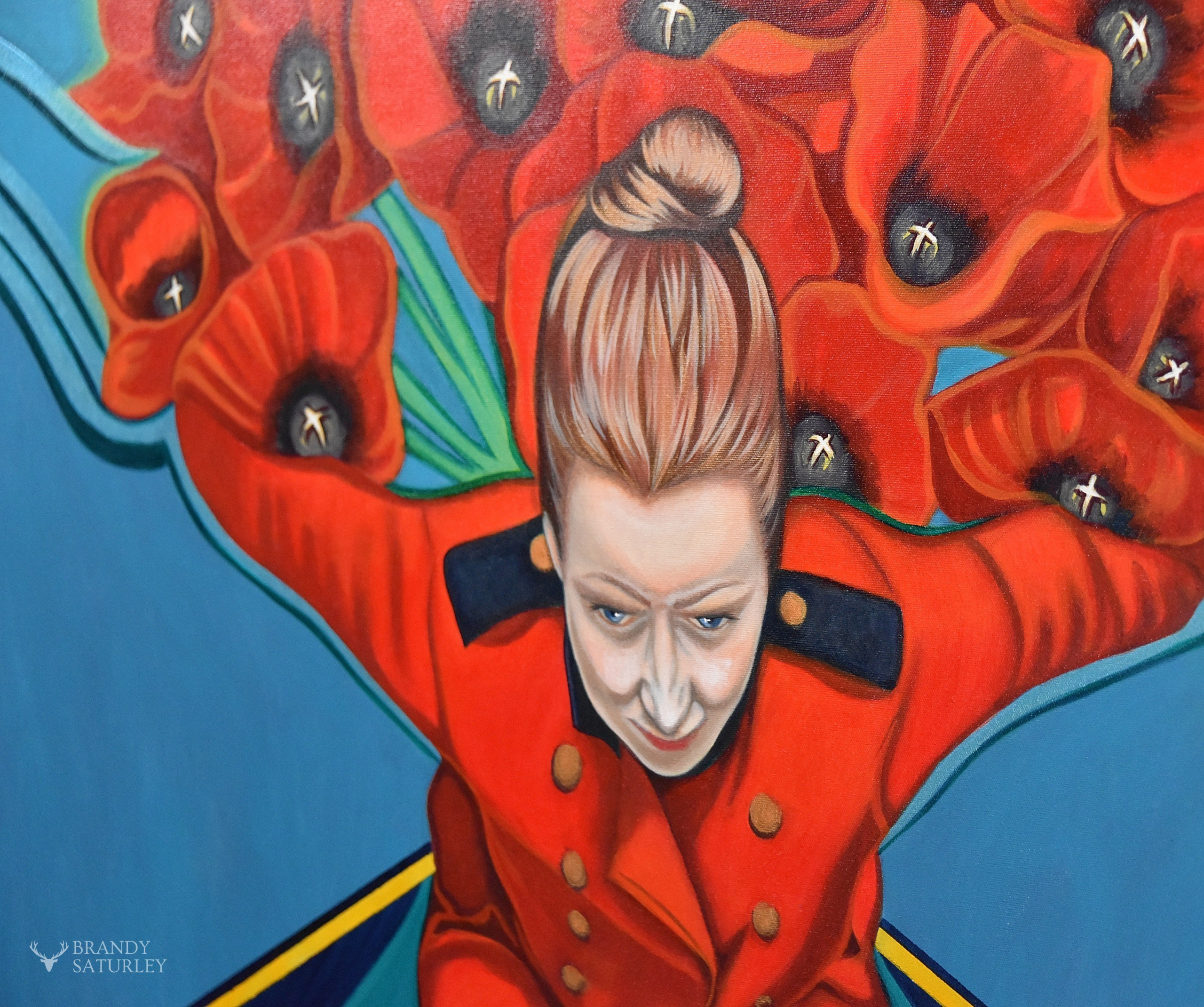 detail view of Remembrance Day painting by Brandy Saturley