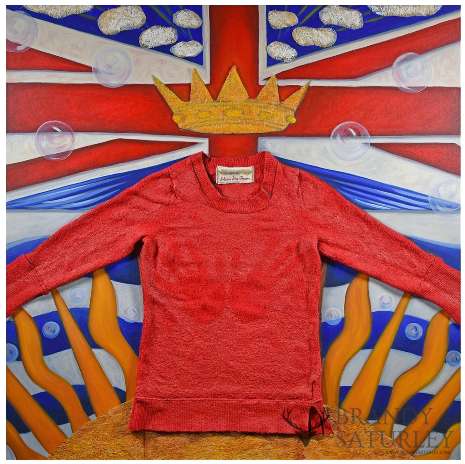 painting with collage of British Columbia flag with red sweater and crown by Brandy Saturley