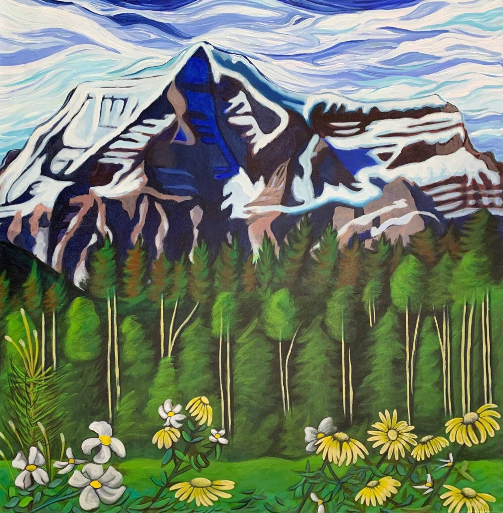 two canadian artists painting mountains