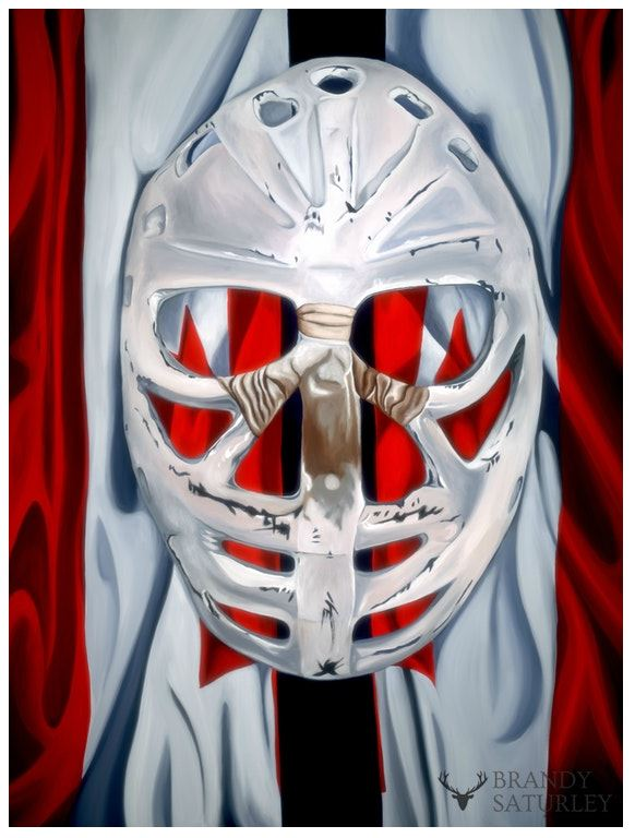 ken dryden mask painting on Canadian flag brandy saturley