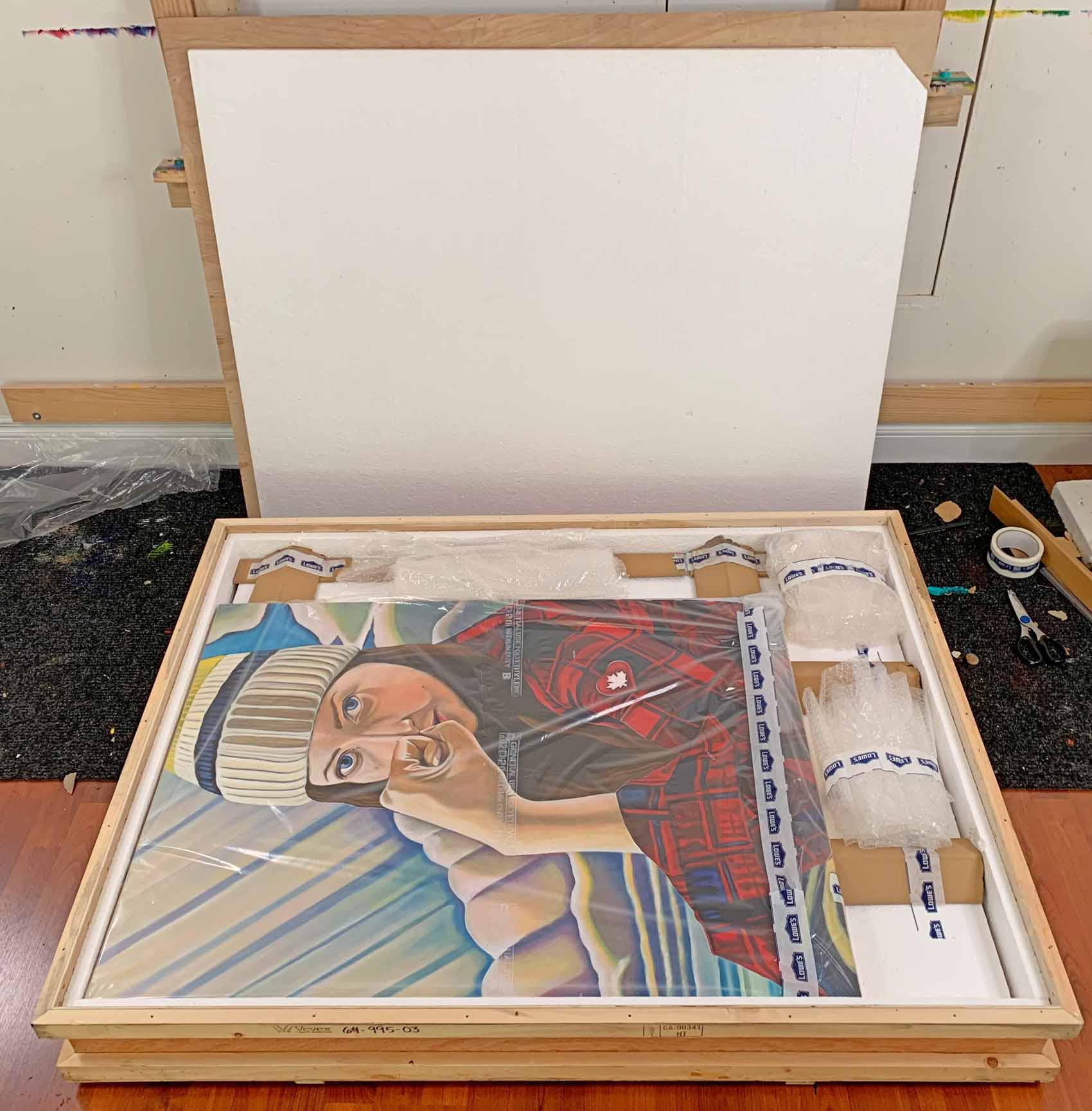 art shipping packing crates with paintings - Brandy Saturley