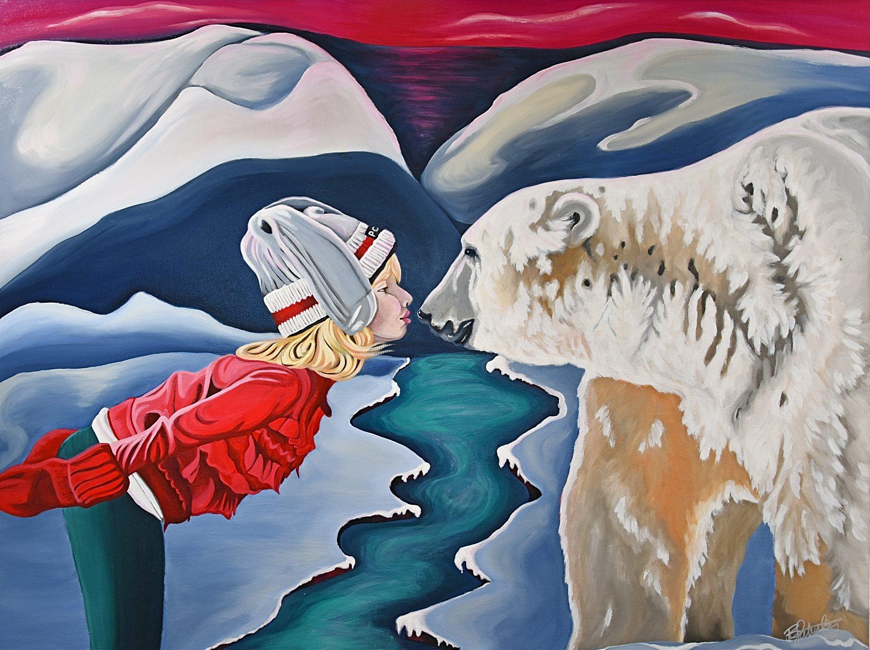 girl with polar bear painting