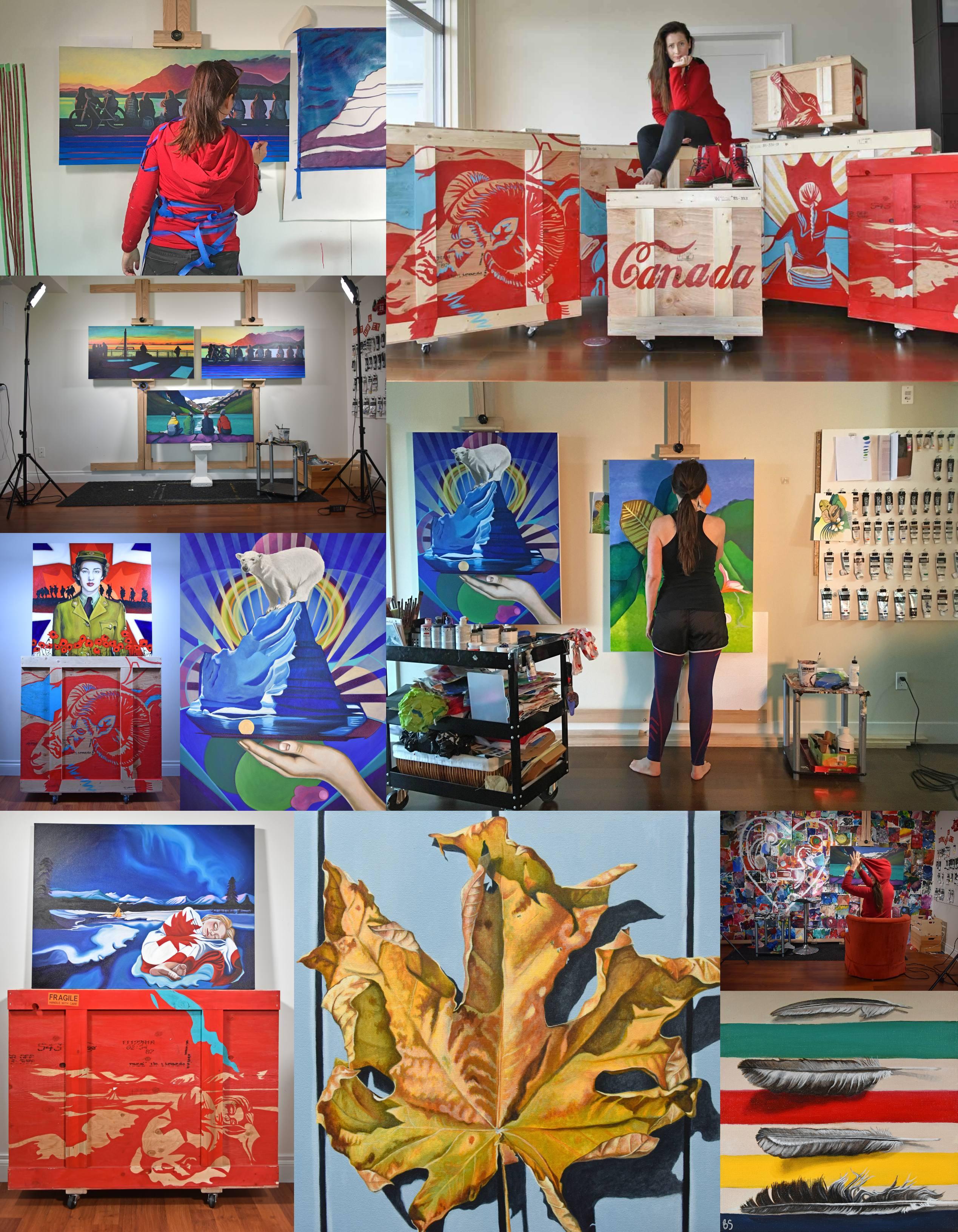Canadian Artist Brandy Saturley in studio
