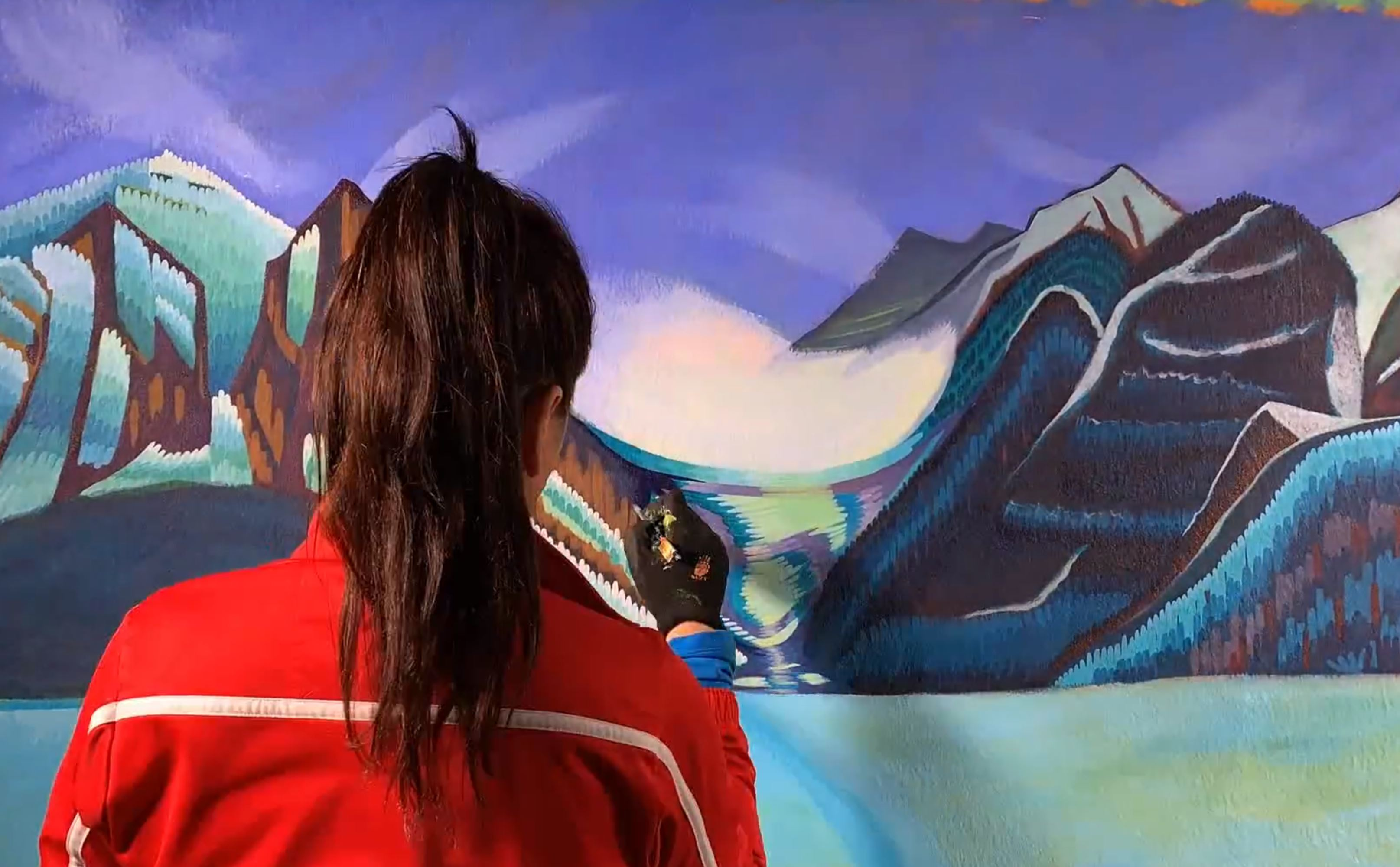 watch canadian artist brandy saturley paint lake louise