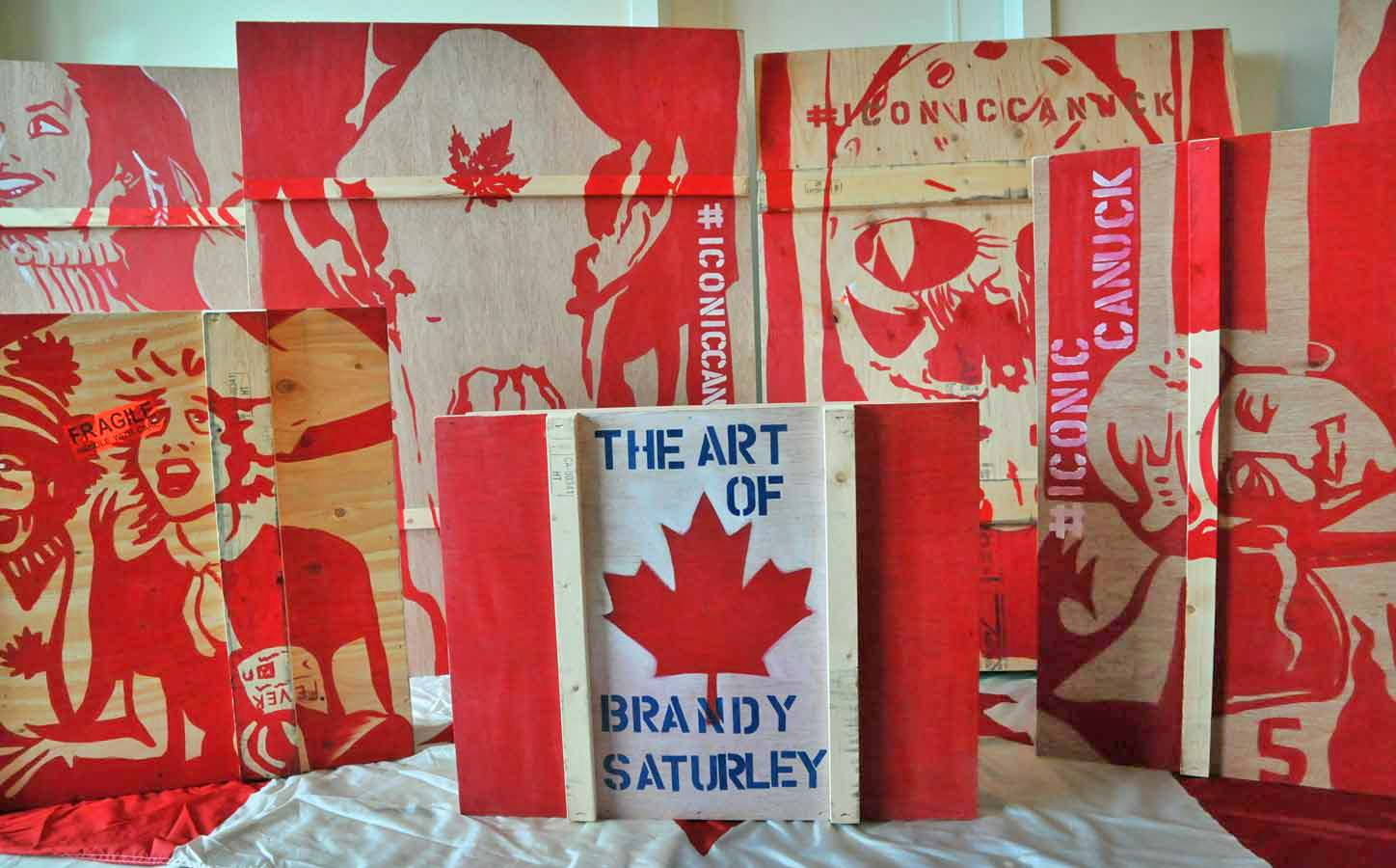 #iconiccanuck crates by Canadian Painter Brandy Saturley