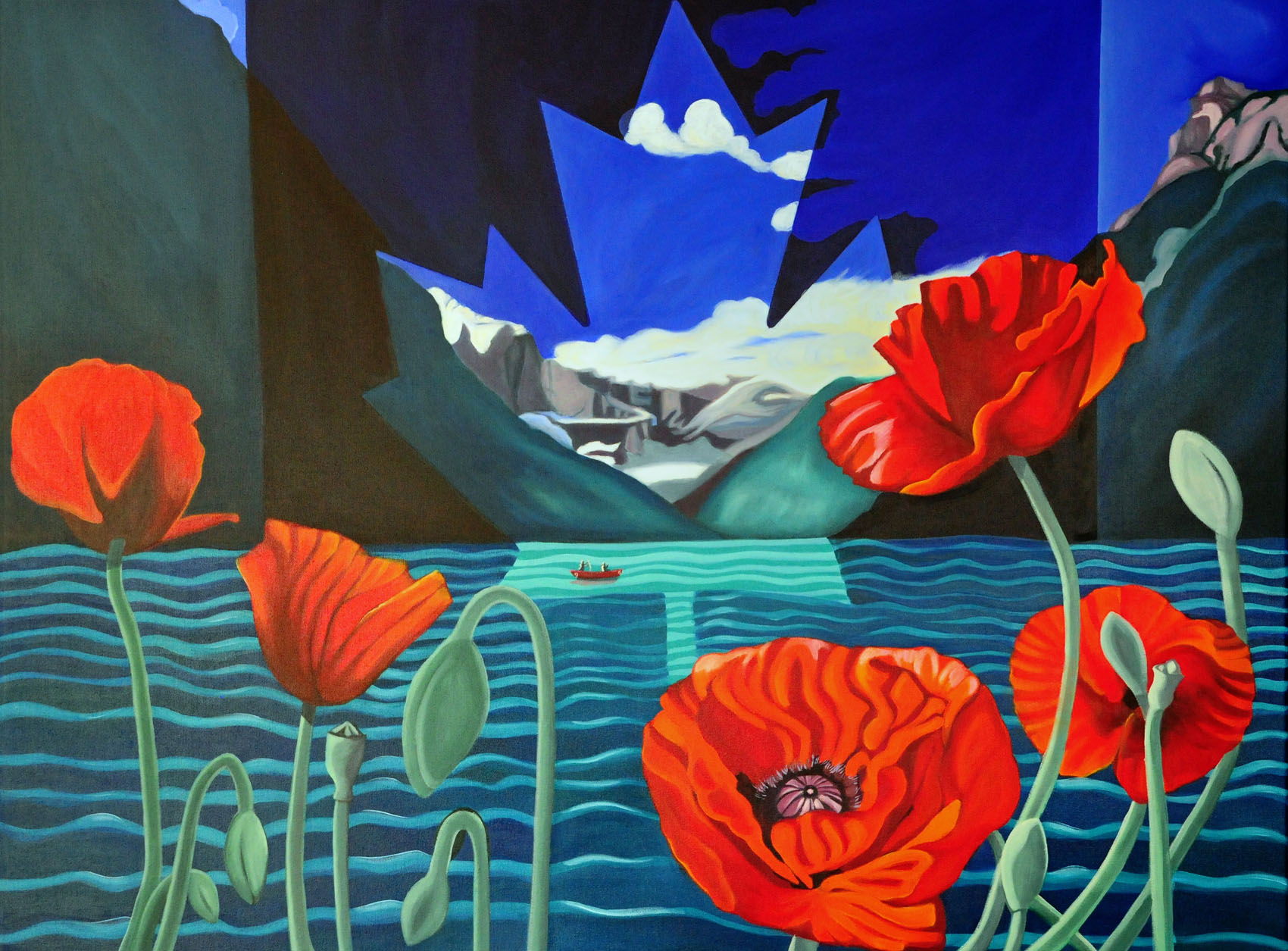 poppies Canada Lake Louise painting