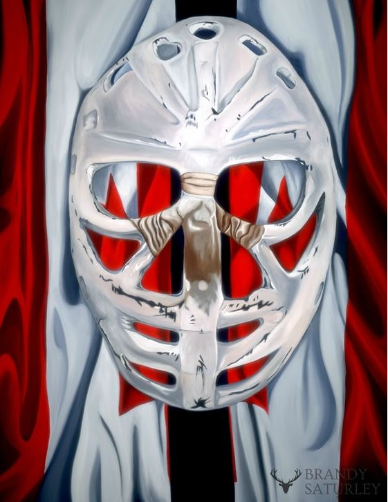 famous Canadian painting of goal tenders mask on Canadian flag