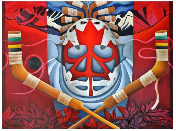 painting of hockey mask and sticks