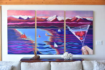 sailboat and martini painting west coast Canada