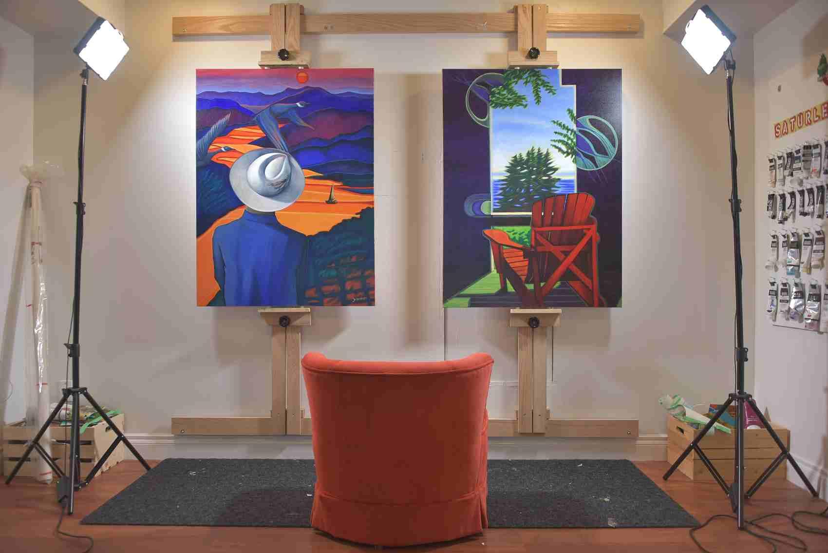 Canadian artist Brandy Saturley studio and paintings