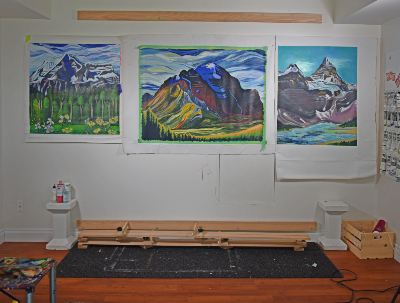 Canadian artist collaboration - painting rocky mountains