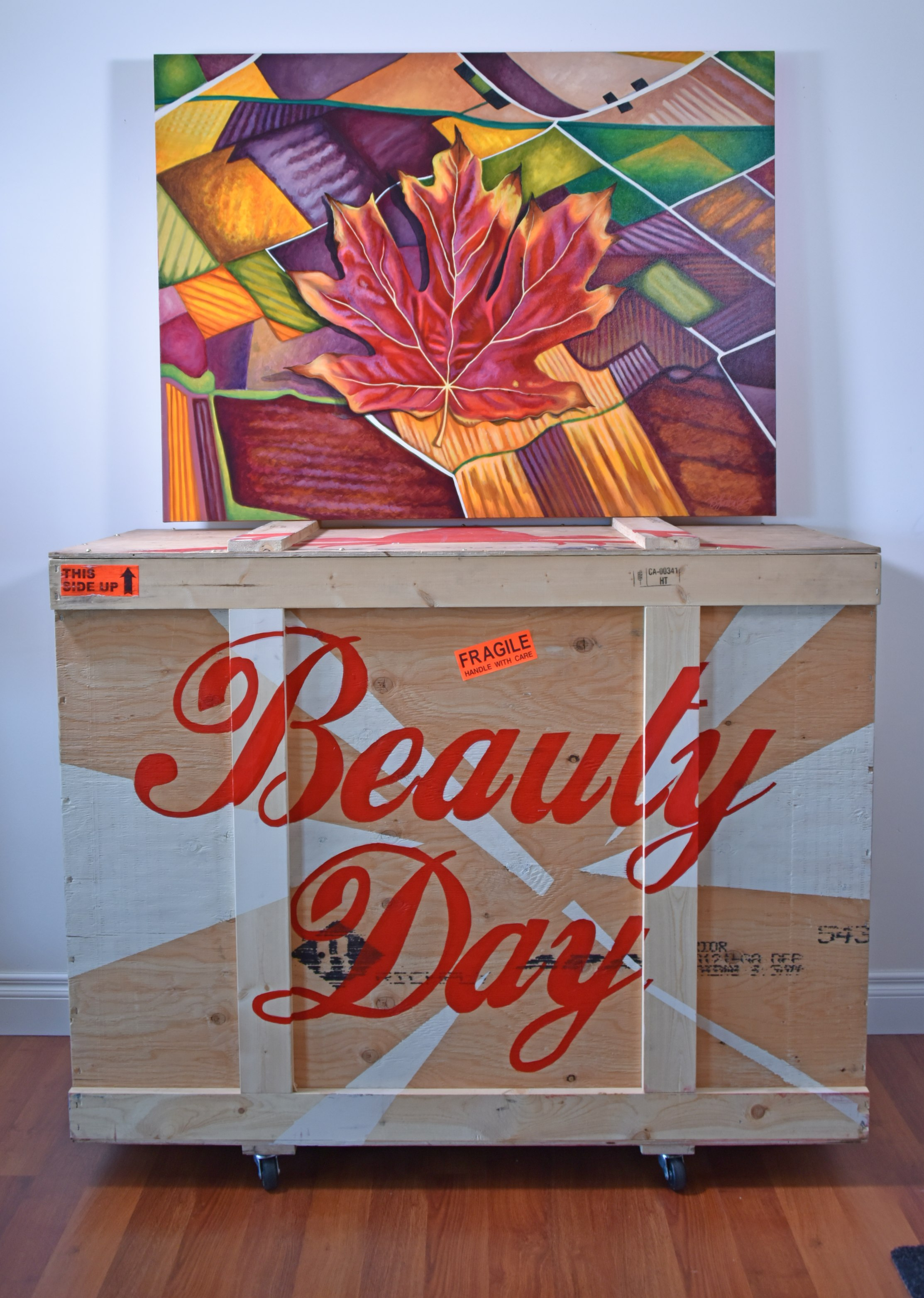 art shipping crate painted with text