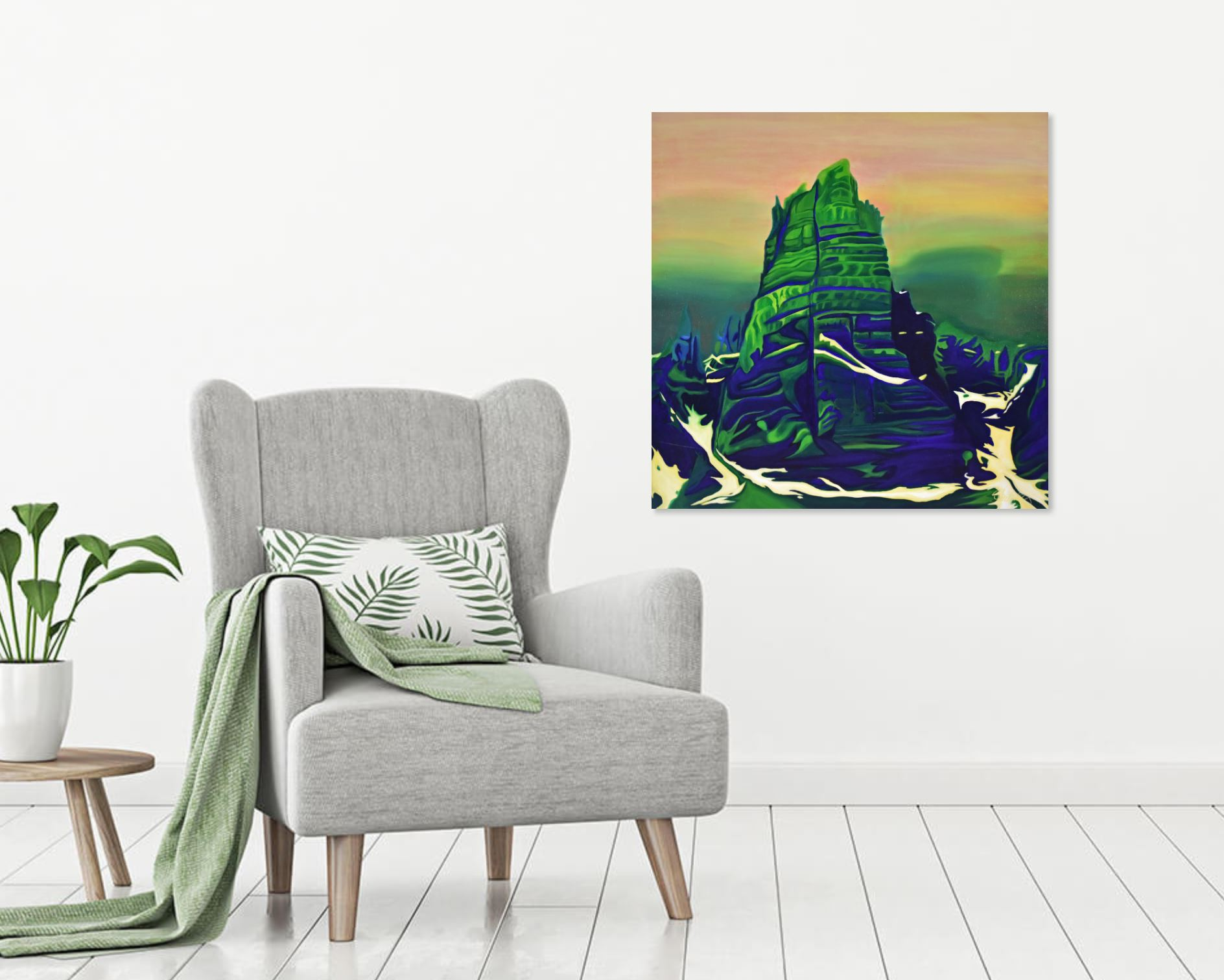 painting of babel hanging on an art collectors wall