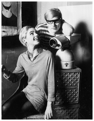 Edie Sedgwick and Andy Warhol on the set of Ciao! Manhattan (1972)