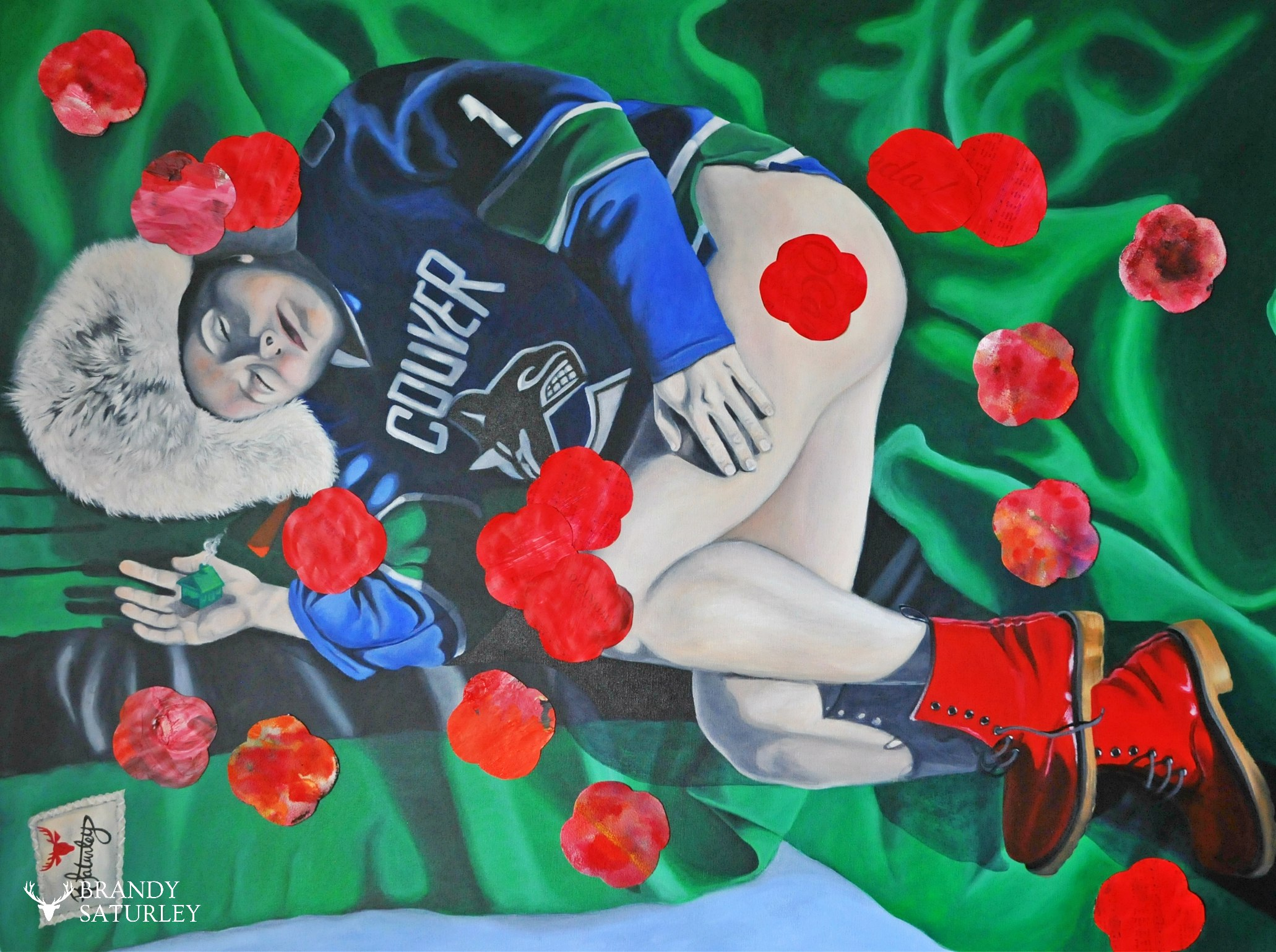 Canucks Vancouver Poppies painting