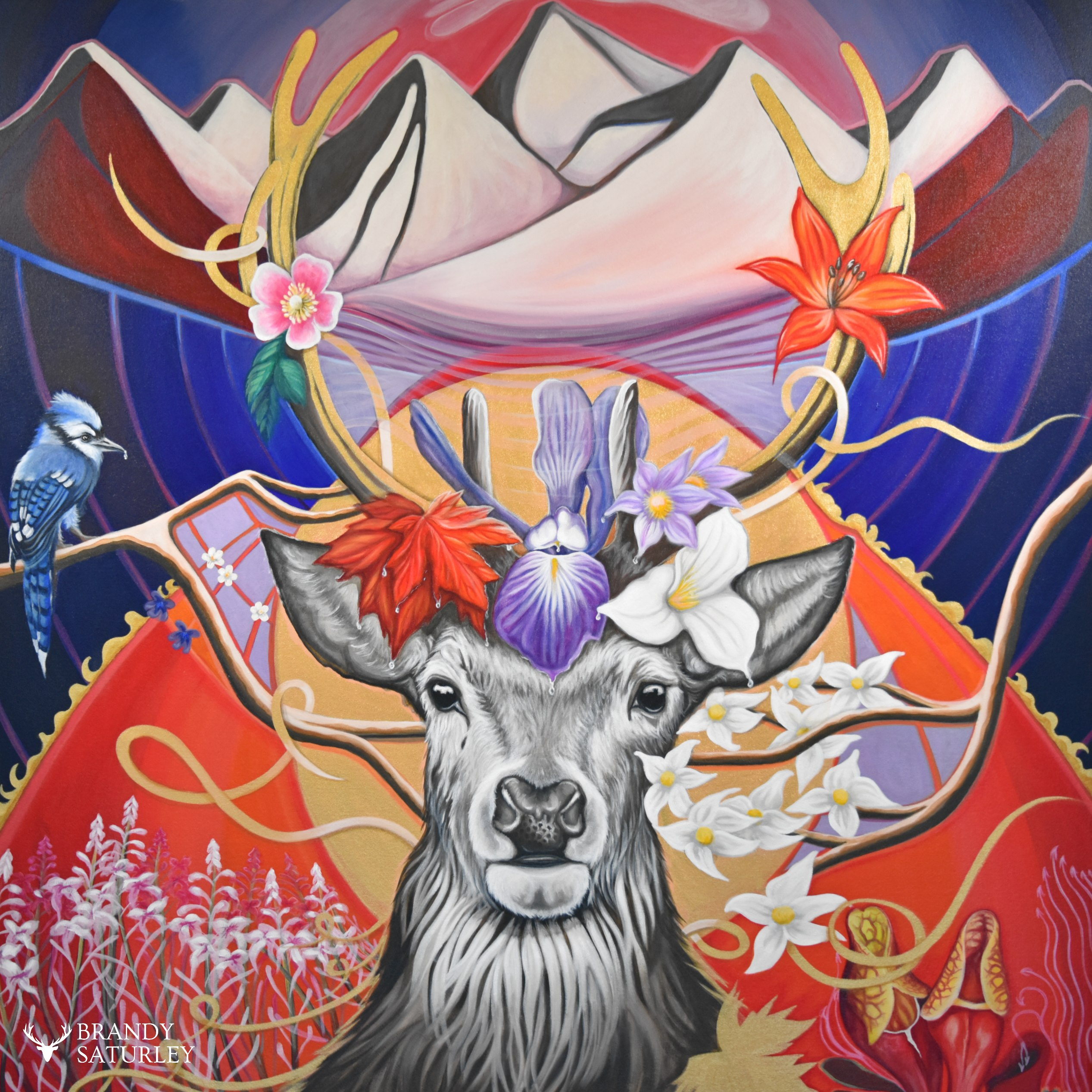 painting of a stag deer with provincial flowers of Canada - Brandy Saturley