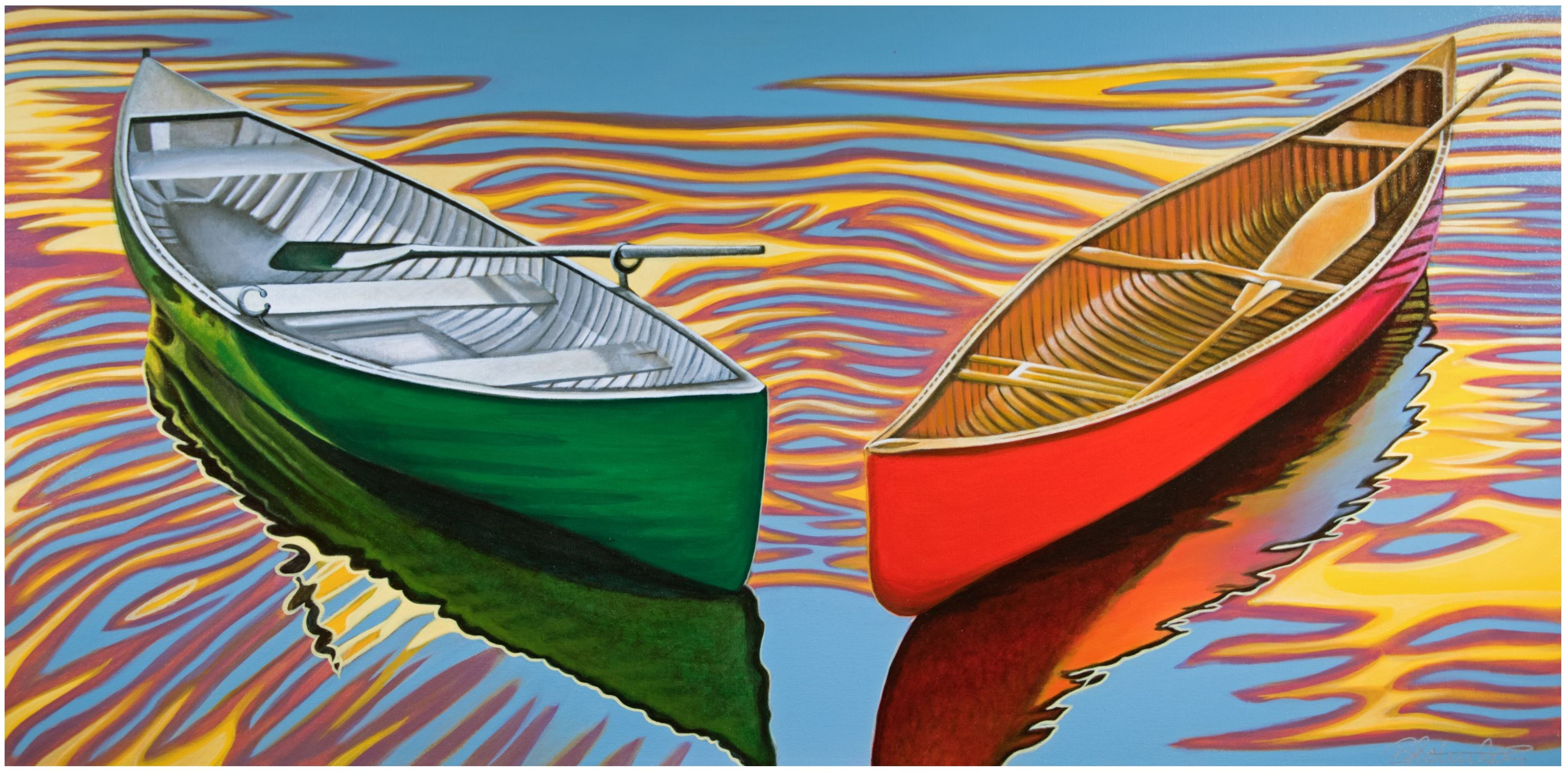 painting of red and green canoes Brandy Saturley