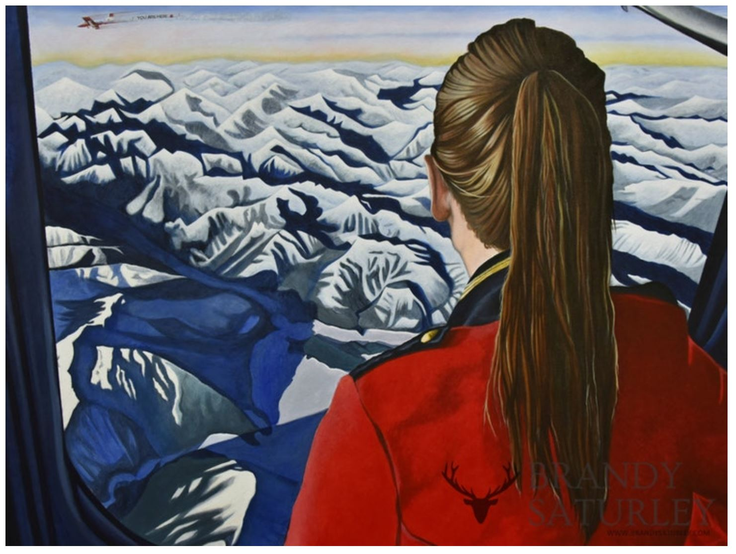 red coat rocky mountains aerial view
