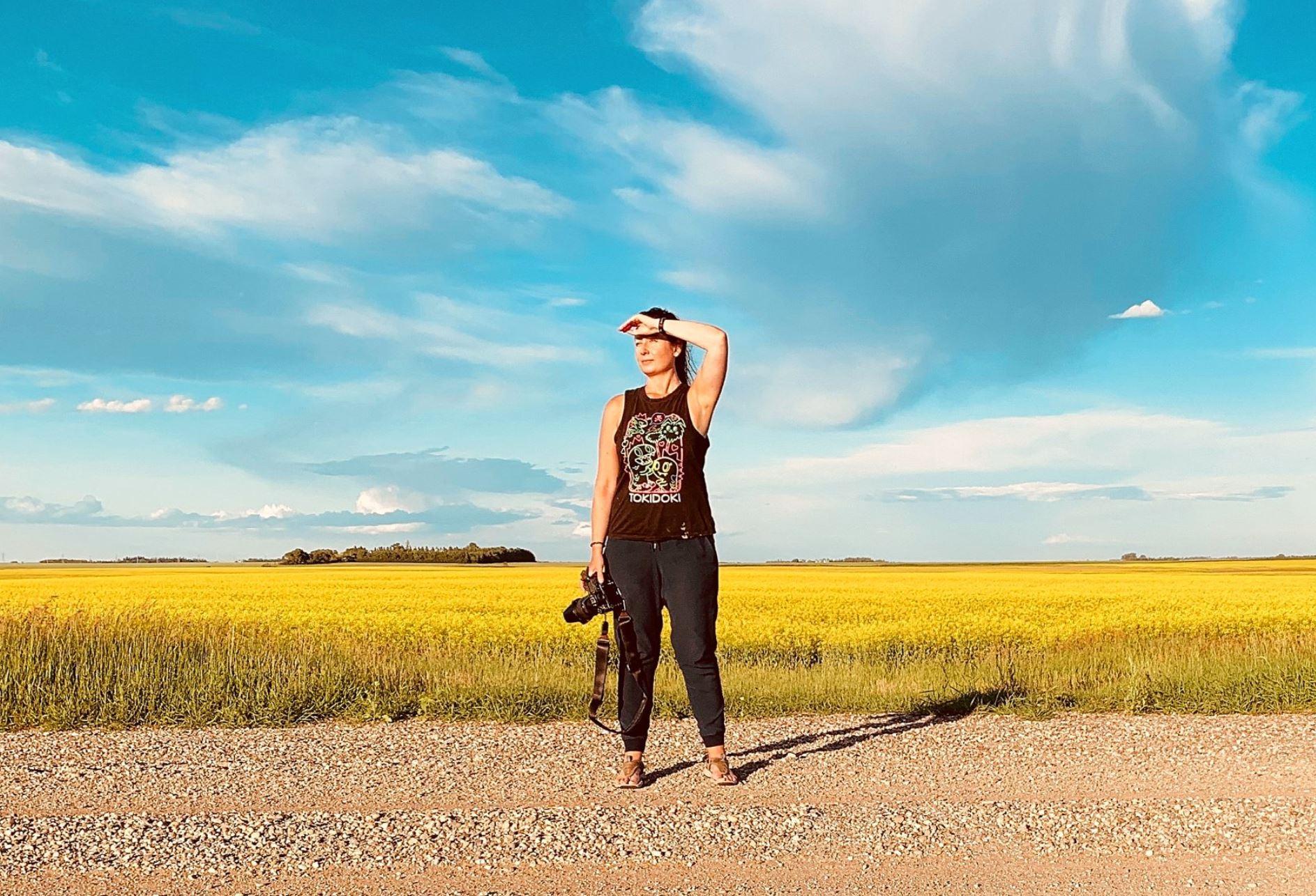 canadian artist brandy saturley taking photos in Brandon, Manitoba