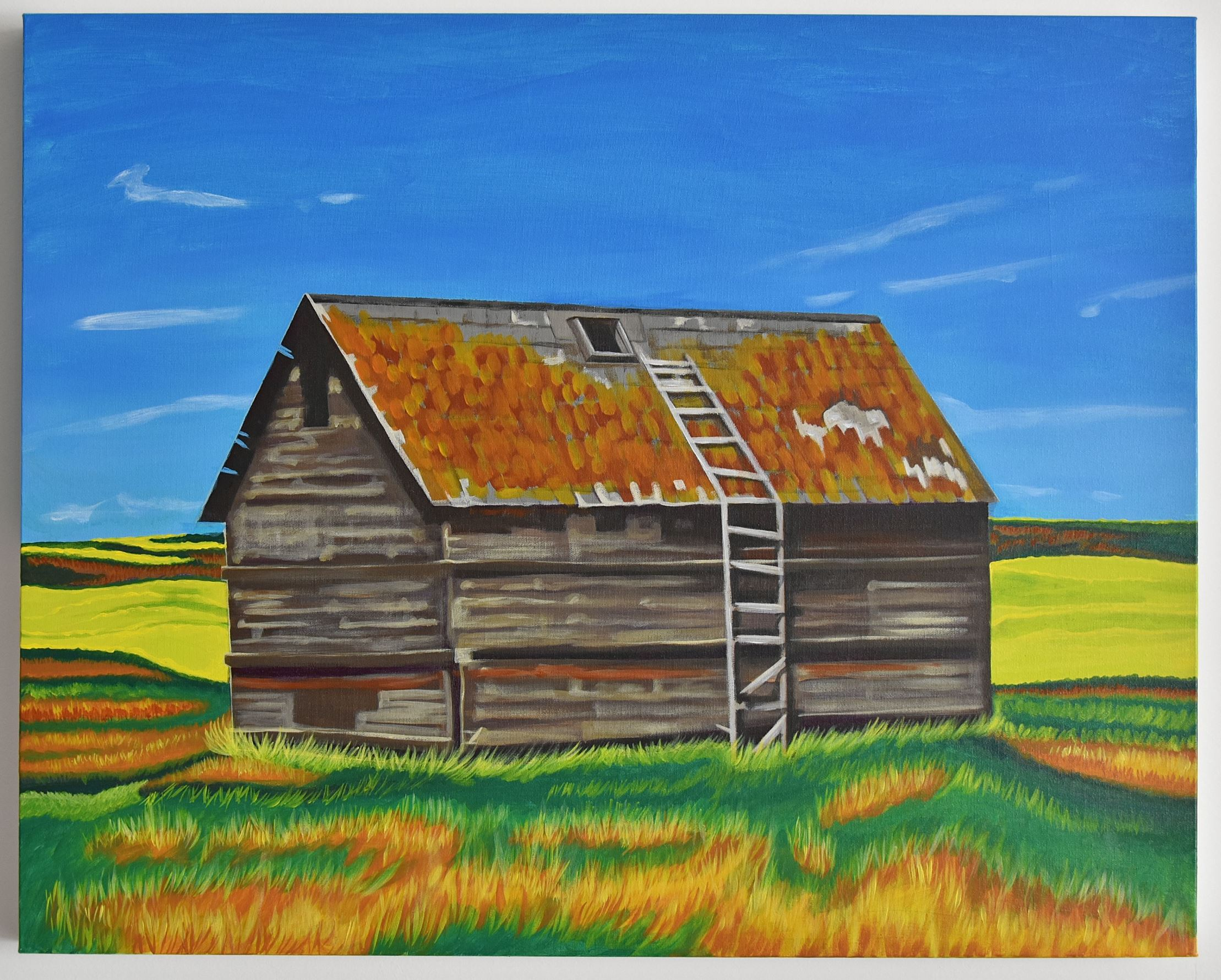 landscape painting of barn in canola landscape near Saskatchewan - Canadian Art