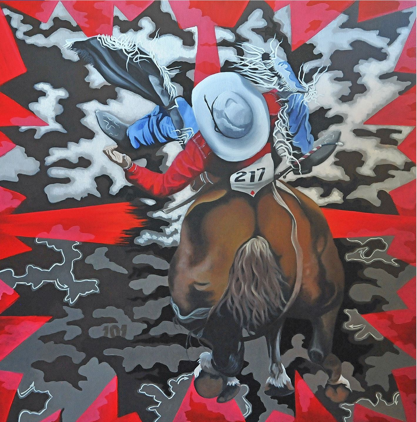 painting of cowboy on horse at calgary stampede
