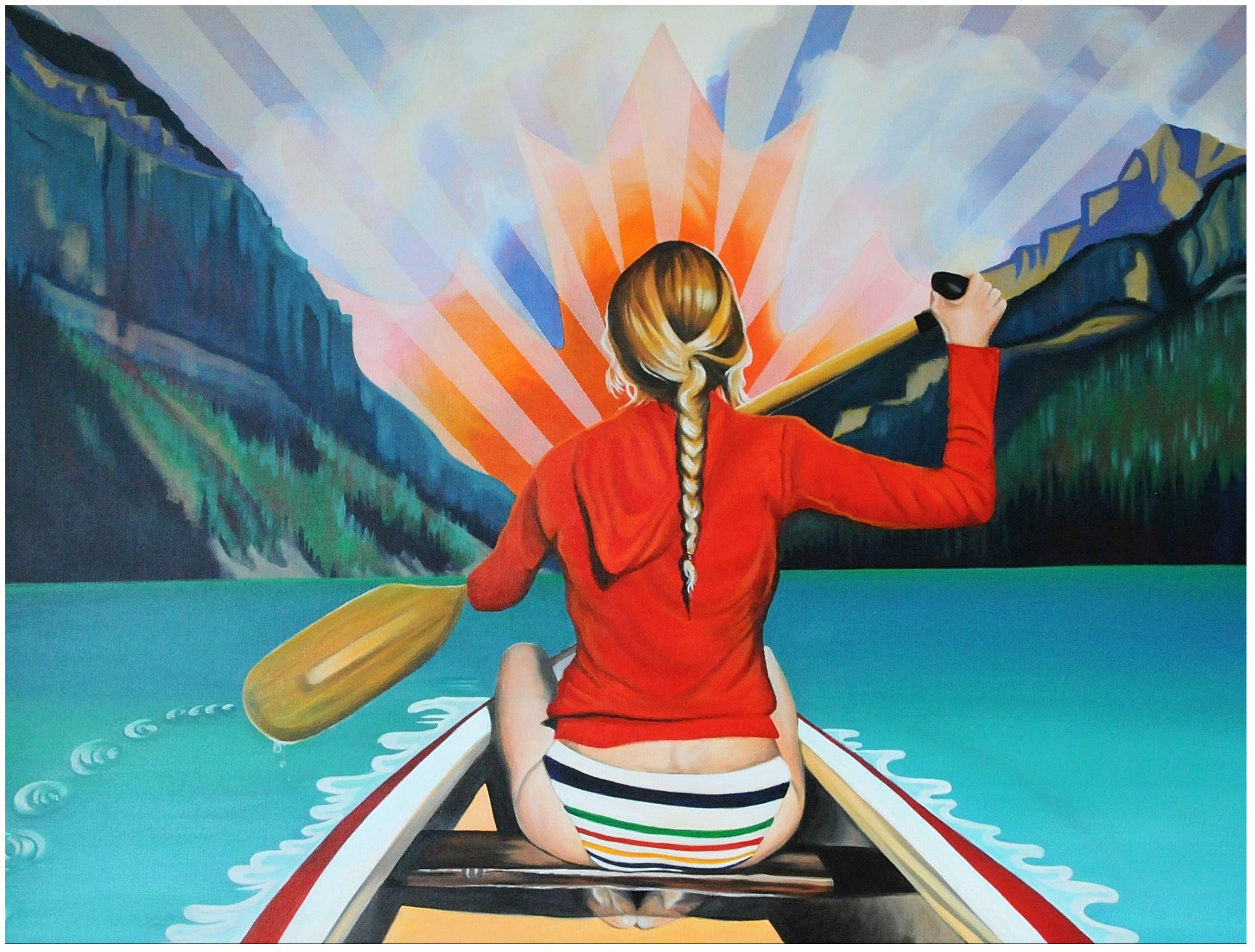 painting of paddling at lake louise