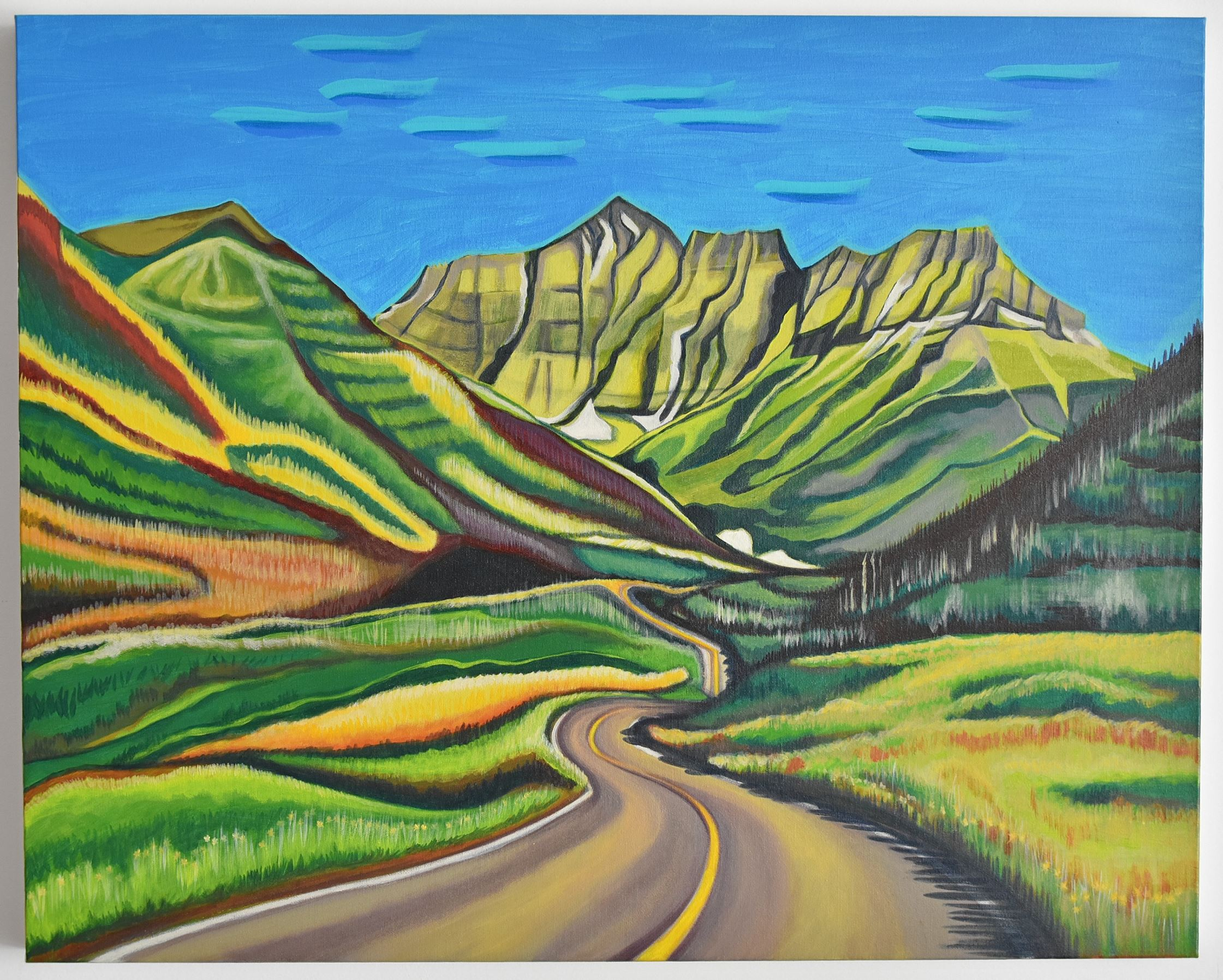 Canadian landscape painting of winding road, prairie, and rocky mountains - Waterton Lakes