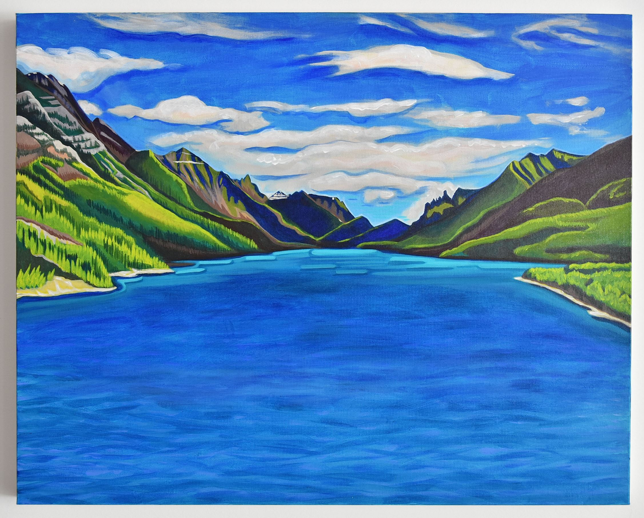 landscape painting of waterton lake and view from prince of wales