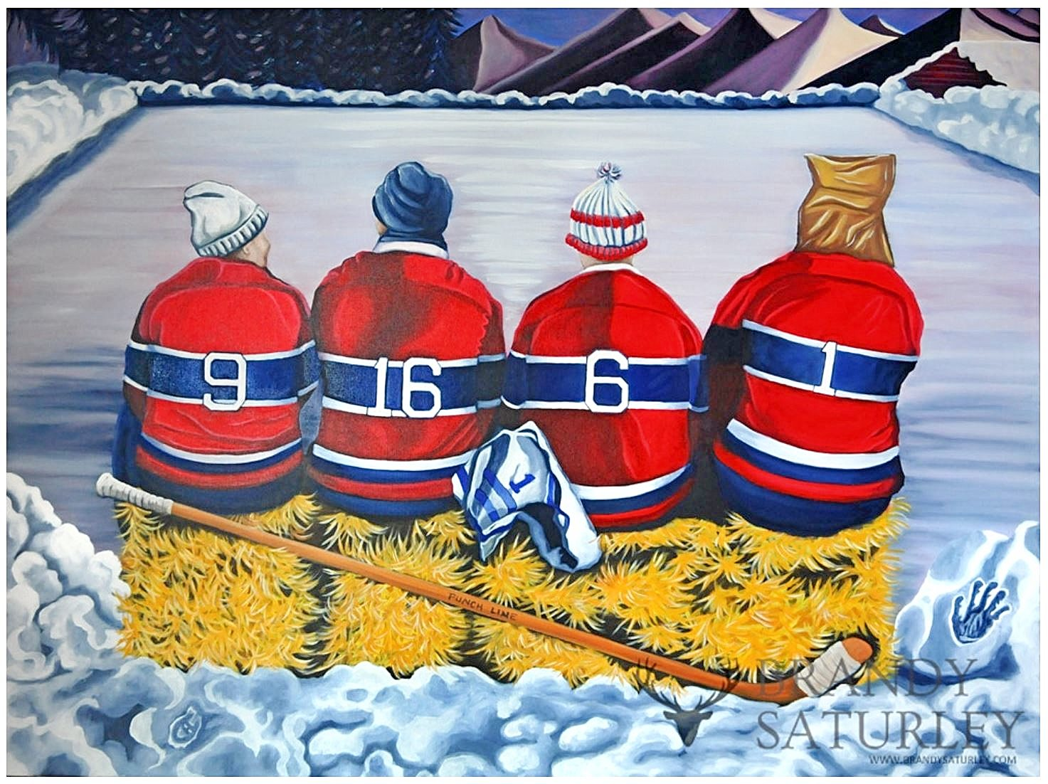 painting of iconic hockey line Punch Line on a bench on the ODR by Brandy Saturley