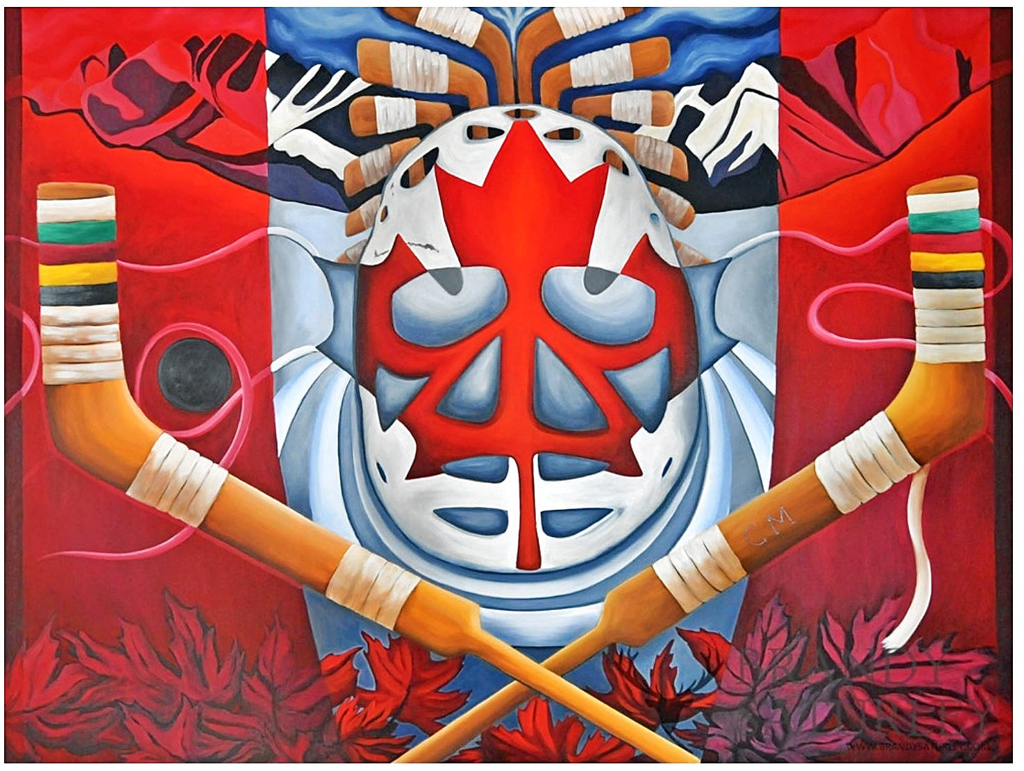 painting of hockey goalie mask on Canadian flag with hockey sticks and mountains by Brandy Saturley